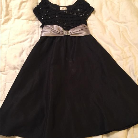 The Children's Place Sparkle Top Black Dress Sz 10